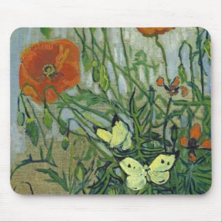 Butterflies & Poppies by Vincent van Gogh Mouse Mat