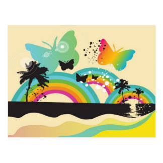 Butterflies Rainbows and Palm Trees Postcard