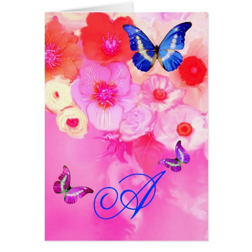 BUTTERFLIES,RED PINK ROSES AND ANEMONE FLOWERS CARDS
