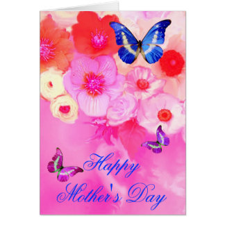 BUTTERFLIES,RED PINK ROSES AND ANEMONE FLOWERS GREETING CARD