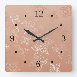 Butterflies Rose Gold Clock