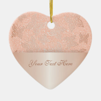 Butterflies Rose Gold Personalize Christmas Ornament