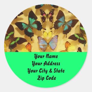 Butterflies Round Stickers