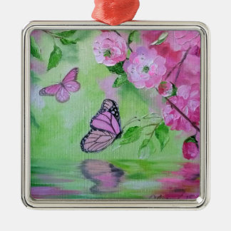Butterflies Silver-Colored Square Decoration