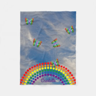 Butterflies Sky Rainbow | Personalized Name Fleece Blanket