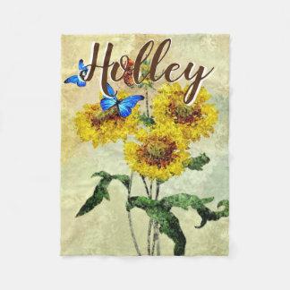 Butterflies Sunflowers Watercolor Personalized Fleece Blanket