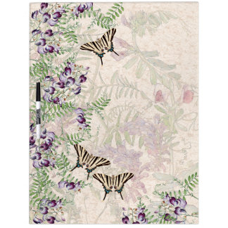 Butterflies Sweet Pea Flowers Dry Erase Board