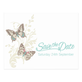 Butterflies teal white cream save the date card postcard