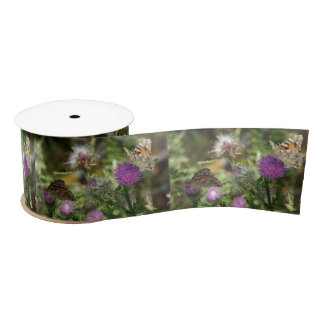 Butterflies Thorn Nature Photo Wide Satin Ribbon