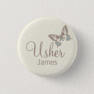 Butterflies Usher named cream wedding pin / button