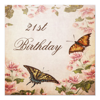 Butterflies & Vintage Almond Blossom 21st Birthday 5.25x5.25 Square Paper Invitation Card