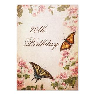 Butterflies & Vintage Almond Blossom 70th Birthday 13 Cm X 18 Cm Invitation Card