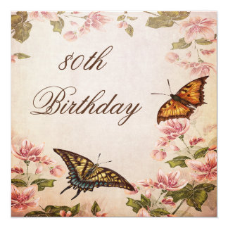 Butterflies & Vintage Almond Blossom 80th Birthday Card
