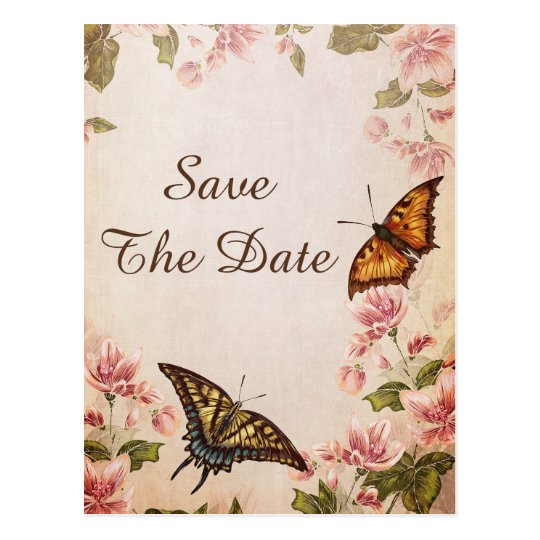 Butterflies & Vintage Almond Blossom Save The Date Postcard