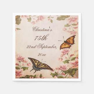 Butterflies & Vintage Almond Blossom Serviettes Disposable Napkin