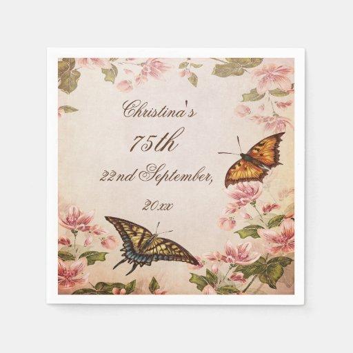Butterflies & Vintage Almond Blossom Serviettes Paper Napkins