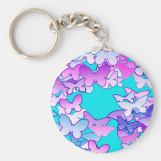 Butterflies, violet and turquoise basic round button key ring
