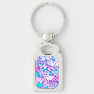 Butterflies, violet and turquoise Silver-Colored rectangle key ring