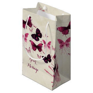 Butterflies Watercolor All Occasion Personalized Small Gift Bag