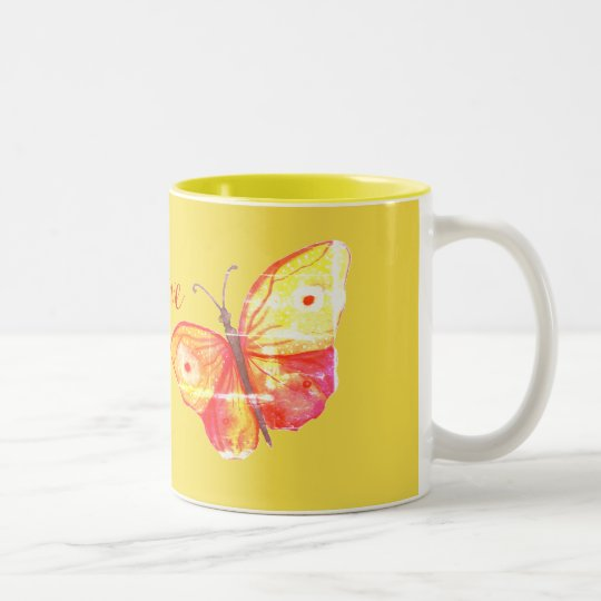 Butterflies Watercolor Orange Two-Tone Coffee Mug