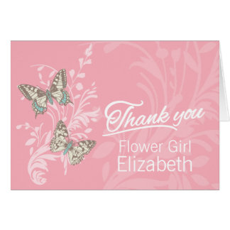 Butterflies wedding flower girl thanks card