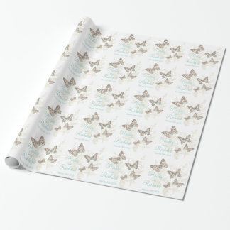 Butterflies white teal wedding names gift paper