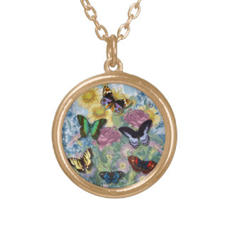 Butterflies & Wildflowers Collage Necklace