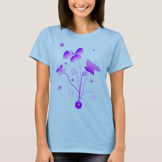Butterflies with Flowers Baby Doll T-shirt