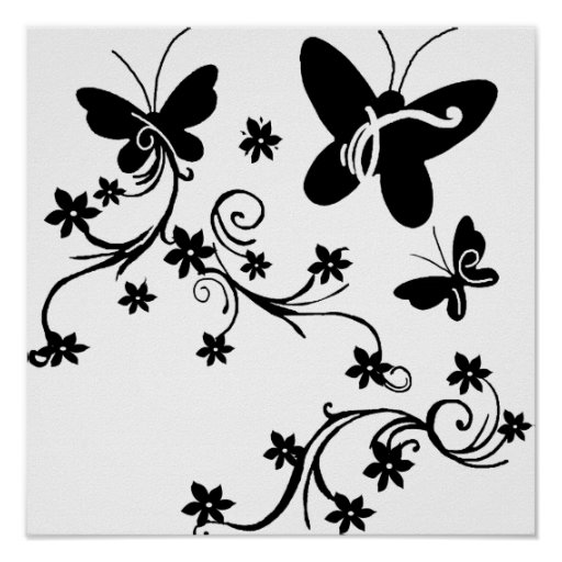 Butterflies with flowers  black n white poster