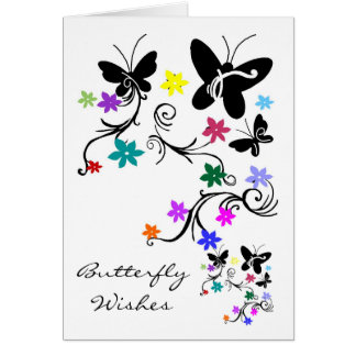 Butterflies with flowers, Butterfly wishes card
