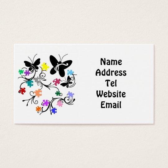 Butterflies with puzzle pieces business cards