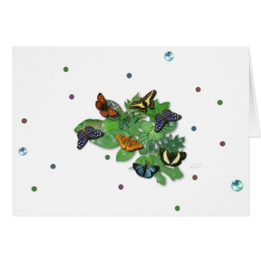 Butterflies with sheets, rain drop, beads greeting cards