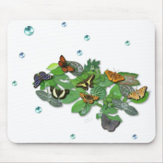 Butterflies with sheets, rain drop, beads mouse pads