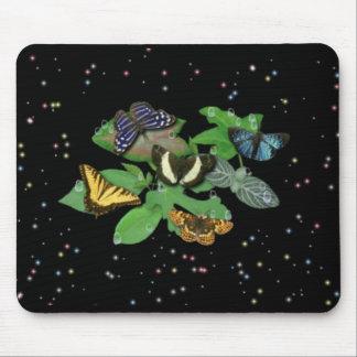 Butterflies with sheets, rain drop, stars mousepads