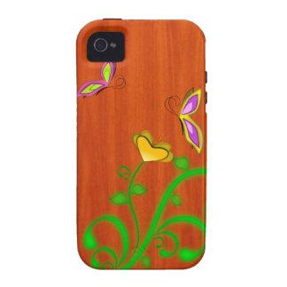 Butterflies Wood Grain iPhone 4 Case