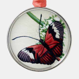Butterfly 1, Watercolor Painting, Art Silver-Colored Round Decoration