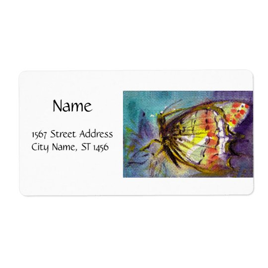 BUTTERFLY 2 ,blue turquase purple Shipping Label