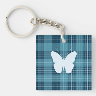 Butterfly (2Way) on Plaid Blues Key Ring