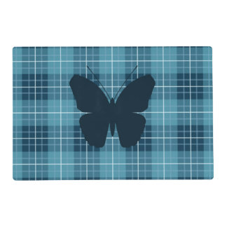 Butterfly (2Way) on Plaid Blues Laminated Placemat