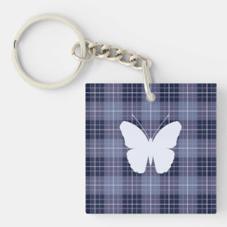 Butterfly (2Way) on Plaid Blues & Purples Key Ring