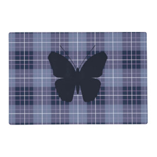 Butterfly (2Way) on Plaid Blues & Purples Laminated Placemat