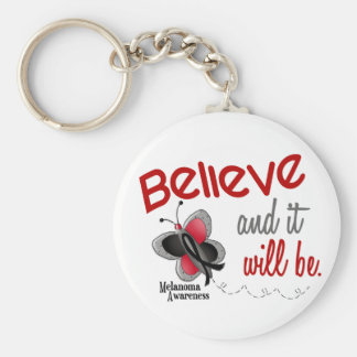 Butterfly 3 BELIEVE IT WILL BE MELANOMA Basic Round Button Key Ring