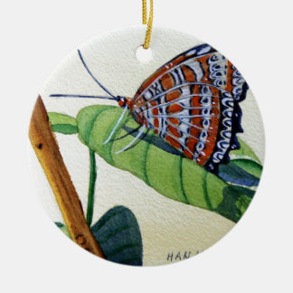 Butterfly 4, Garden, Watercolor Painting, Art Round Ceramic Decoration