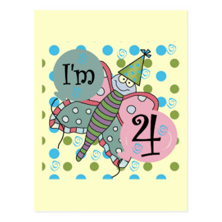 Butterfly 4th Birthday Tshirts and Gifts Postcards