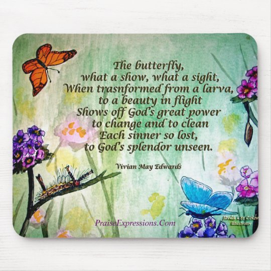 Butterfly- 5x7 w poem, PraiseExpressions.Com Mouse Mat