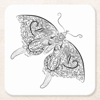 butterfly- Adult Coloring Coaster