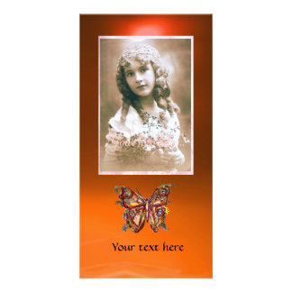 BUTTERFLY AGATE ,red orange yellow Personalized Photo Card
