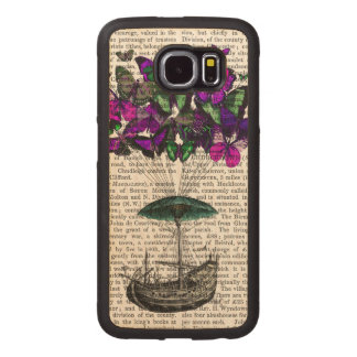 Butterfly Airship 2 Purple and Green Wood Phone Case