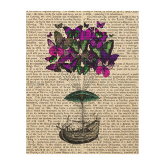 Butterfly Airship 2 Purple and Green Wood Print