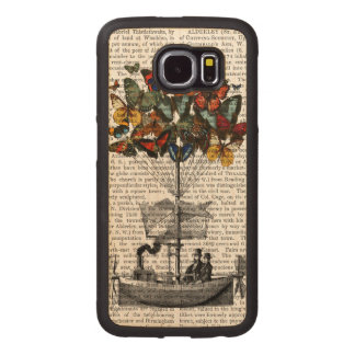 Butterfly Airship Wood Phone Case